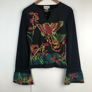 Cache Bell Sleeve Hummingbird Embellished Blouse